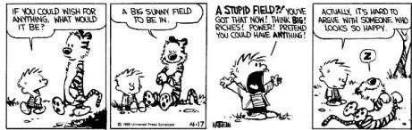 Calvin and Hobbes just want a sunny field