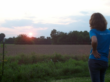 Watching the sun set over the farm